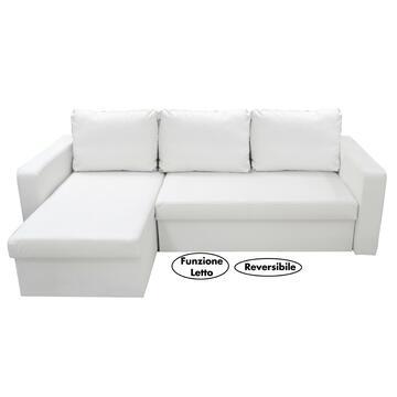 Divano angolare VENUSbianco, linea geometrica e moderna, trasformabile in letto. Scocca in ecopelle e cuscini in tessuto.