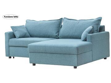 Divano angolare RODI color turchese, rivestito in tessuto Jazz. Con chaise longue destra e funzione letto.