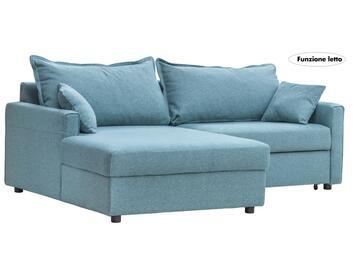 Divano angolare RODI color turchese, rivestito in tessuto Jazz. Con chaise longue sinistra e funzione letto.