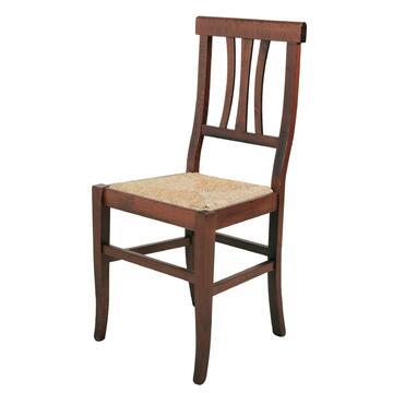 Classica sedia in legno colore noce con seduta in paglia