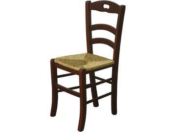 Classica sedia in legno con seduta in paglia