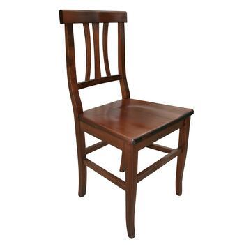 Classica sedia in legno colore noce disponibile con seduta in legno oppure in paglia.