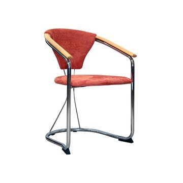 Elegante sedia moderna di design, solida e comoda grazie all'ampia seduta ed ai braccioli rivestiti. Un tocco di stile da non lasciarsi scappare!