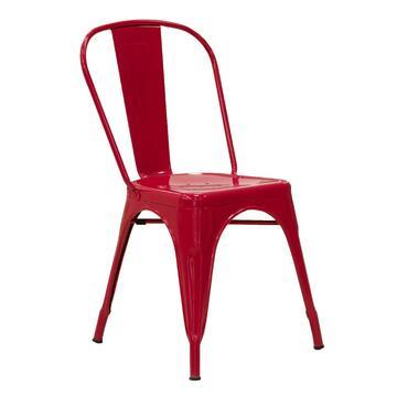 Sedia Klaus rossa in stile industriale, resistente e di design. Disponibili anche gli sgabelli abbinati.