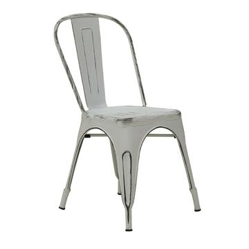 Sedia Klaus bianco vintage in stile industriale, resistente e di design. Disponibili anche gli sgabelli abbinati.