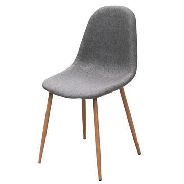 Comoda sedia in tessuto, gambe in legno.  Colore tortora.