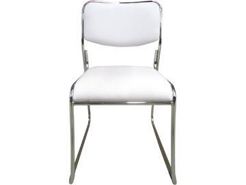 Sedia MAGDA bianca in metallo con seduta e schienale imbottiti e rivestiti in ecopelle. Sono disponibili in tante differenti colorazioni.