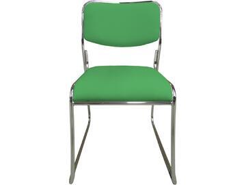 Sedia MAGDA verde in metallo con seduta e schienale imbottiti e rivestiti in ecopelle. Sono disponibili in tante differenti colorazioni.