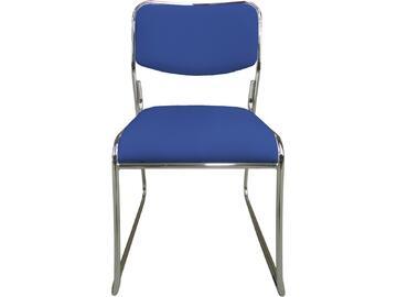 Sedia MAGDA blu in metallo con seduta e schienale imbottiti e rivestiti in ecopelle. Sono disponibili in tante differenti colorazioni.