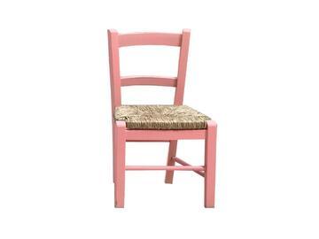 Sedia BABY rosa per bambini,modello classico. Comoda e stabile,struttura in legno.