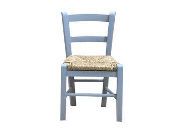 Sedia BABY azzurra per bambini,modello classico. Comoda e stabile,struttura in legno.