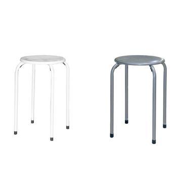 Sgabello TOM impilabile in metallo con seduta decorata coloi assortiti grigio/bianco