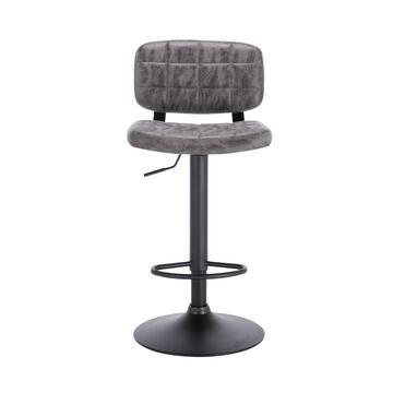 Sgabello Vinty da bar grigio in design moderno! Adatto a tutti i banconi da bar, con altezza regolabile e dotato di poggiapiedi per il massimo comfort.