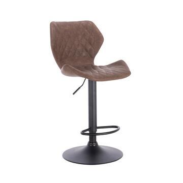 Sgabello Vinty da bar marrone in design moderno! Adatto a tutti i banconi da bar, con altezza regolabile e dotato di poggiapiedi per il massimo comfort.