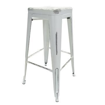 Sgabello Klaus bianco vintage in stile industriale, resistente e di design moderno.