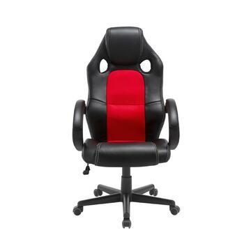 Sedia regolabile da gaming/ufficio Rossa e Nera con ruote, schienale 70 cm