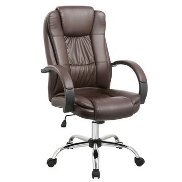 Poltrona Ben da ufficio in pelle marrone, struttura e braccioli imbottiti con ruote. Ti assicura relax e stabilitÓ.Disponibile anche nel colore crema.