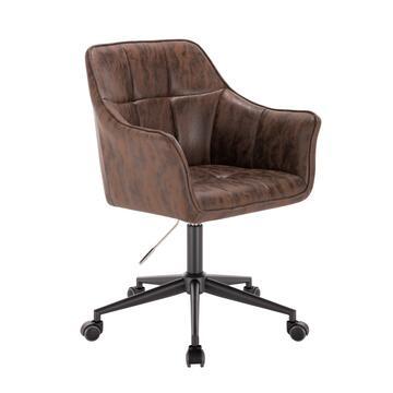 Poltrona Vinty marrone da ufficio con ruote, altezza regolabile, con schienale e seduta imbottiti.