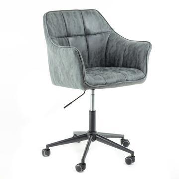 Poltrona Vinty grigia da ufficio con ruote, altezza regolabile, con schienale e seduta imbottiti.