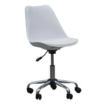 Sedia da ufficio Chat bianco, rigida con ruote.