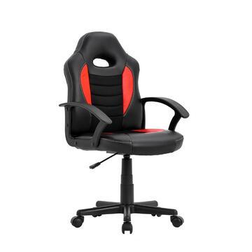 Sedia da gaming/ufficio Nera e Rossa, regolabile con ruote, schienale 55 cm
