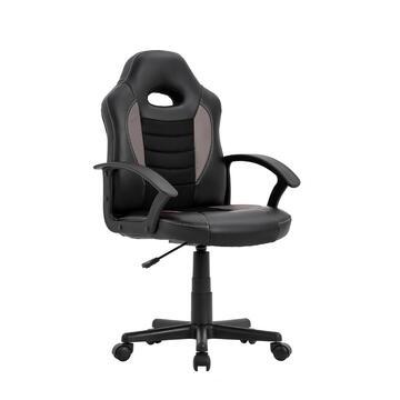 Sedia da gaming/ufficio Nera e Grigia, regolabile con ruote, schienale 55 cm