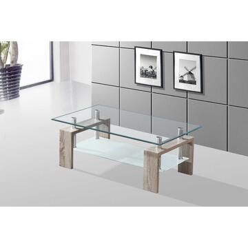 Tavolino da salotto rettangolare a 2 ripiani, Design moderno e raffinato.   Lo spazio per le riviste tra i ripiani ti aiuterà a mantenere le tue cose in ordine e organizzate.