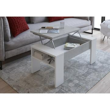 Tavolino Andrea Larice Bianco/Cemento