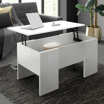 Tavolino Zeta Bianco Lucido con vano contenitore