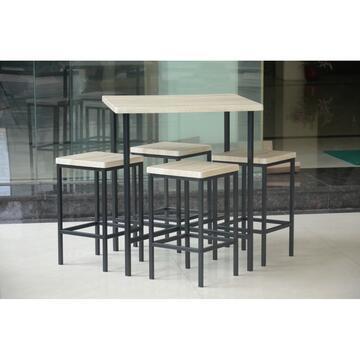 Elegante set, adatto sia per esterni che interni. Finita in legno e finta pelle!