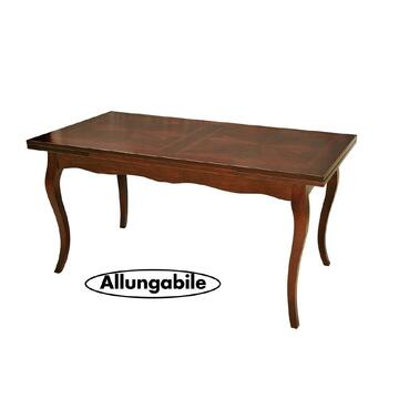 Grande tavolo allungabile con gambe a sciabola e piano tavolo intarsiato. Grazie alle sue generose dimensioni puo ospitare comodamente 8 persone.