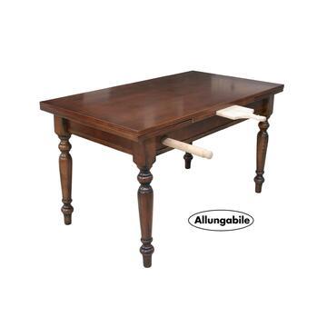 Tavolo allungabile in legno completo di cassetto ed accessori estraibili direttamente dal telaio del tavolo.