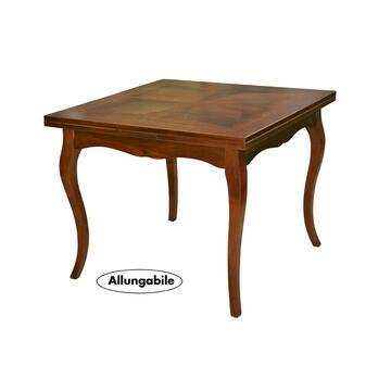 Tavolo quadrato allungabile con piano tavolo intarsiato. Elegante e pratico può ospitare comodamente 6-8 persone.