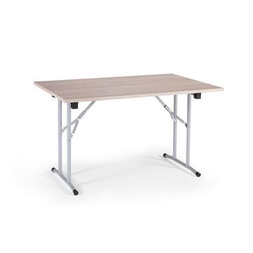 Pratico tavolo con gambe pieghevoli,piano in rovere.