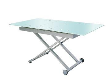 Moderno tavolo allungabile con struttura in metallo e piano tavolo in vetro temperato: resistente e facile da pulire. Puo ospitare comodamente fino a 6 persone.