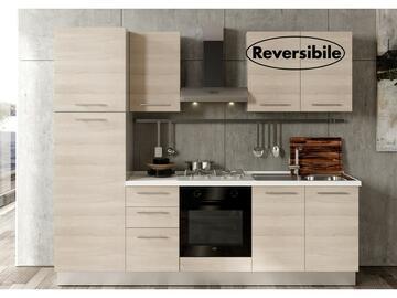 Cucina completa Giava 255 cm finitura ante Olmo e struttura Bianco