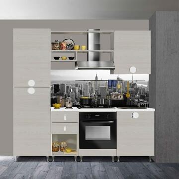 Cucina completa Funny 220 cm finitura ante Betulla e struttura Bianco