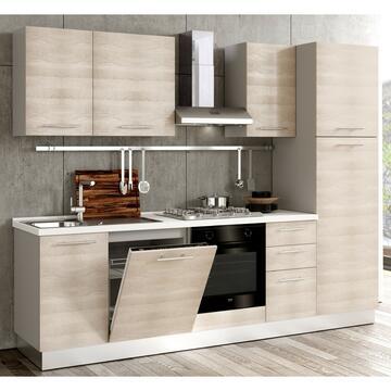 Cucina completa Giava 270 cm finitura ante Olmo e struttura Bianco