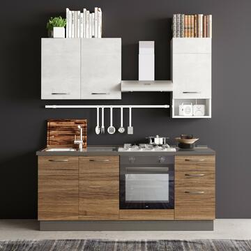 Cucina completa Tallin 195 cm finitura ante Noce Stelvio/Cemento e struttura Bianco