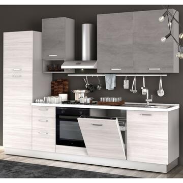 Cucina completa Flora 285 cm finitura ante Frassino/Cemento e struttura Bianco con lavastoviglie