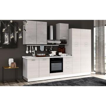 Cucina completa Flora 300 cm finitura ante Frassino/Cemento e struttura Bianco
