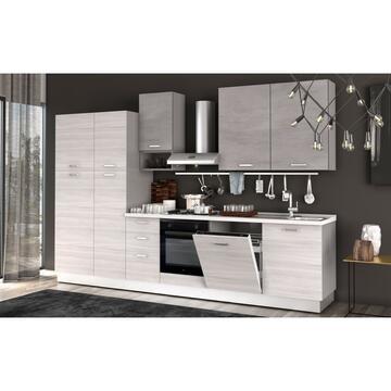 Cucina completa Flora 330 cm finitura ante Frassino/Cemento e struttura Bianco con lavastoviglie