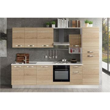 Cucina completa Divina 300 cm finitura ante Rovere Sonoma e struttura Bianco