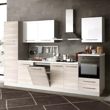 Cucina completa Kristal 330 cm fintura ante Bianco e struttura Olmo
