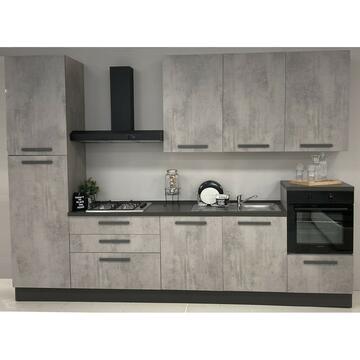 Cucina completa Eva 330 cm finitura ante e stuttura Cemento