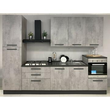 Cucina Eva 330 cm finitura ante e struttura Cemento