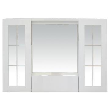 Mobiletto con specchiera centrale, mensola portaoggetti e due contenitori con ante a specchio laterali.