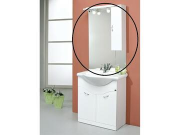 Mobiletto specchio con pensile a destra. Colore bianco lucido