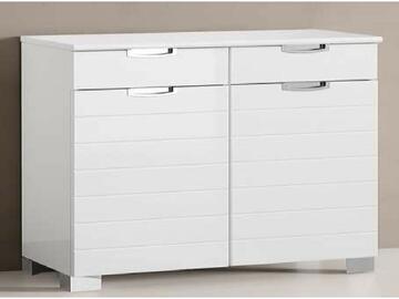 Elegante base doppia con 2 ante,chiusura ammortizzata e due cassetti. Linee moderne e pulite,struttura resa lucente dal colore bianco lucido!