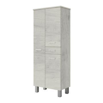 Mobiletto bagno colonna  3 ante + 1 cassetto Gaia Quercia